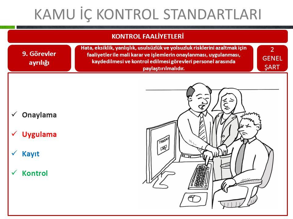 KAMU İÇ KONTROL STANDARTLARI KONTROL FAALİYETLERİ 9. Görevler ayrılığı Hata, eksiklik, yanlışlık, usulsüzlük ve yolsuzluk risklerini azaltmak için faa