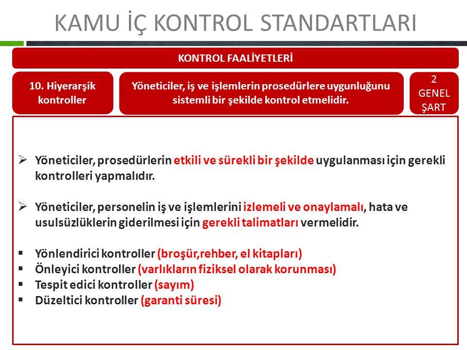 KAMU İÇ KONTROL STANDARTLARI KONTROL FAALİYETLERİ 10. Hiyerarşik kontroller Yöneticiler, iş ve işlemlerin prosedürlere uygunluğunu sistemli bir şekild
