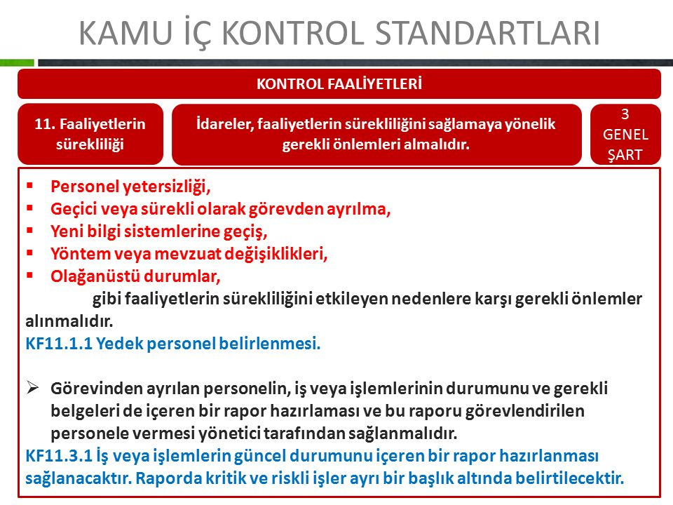 KAMU İÇ KONTROL STANDARTLARI KONTROL FAALİYETLERİ 11. Faaliyetlerin sürekliliği İdareler, faaliyetlerin sürekliliğini sağlamaya yönelik gerekli önleml