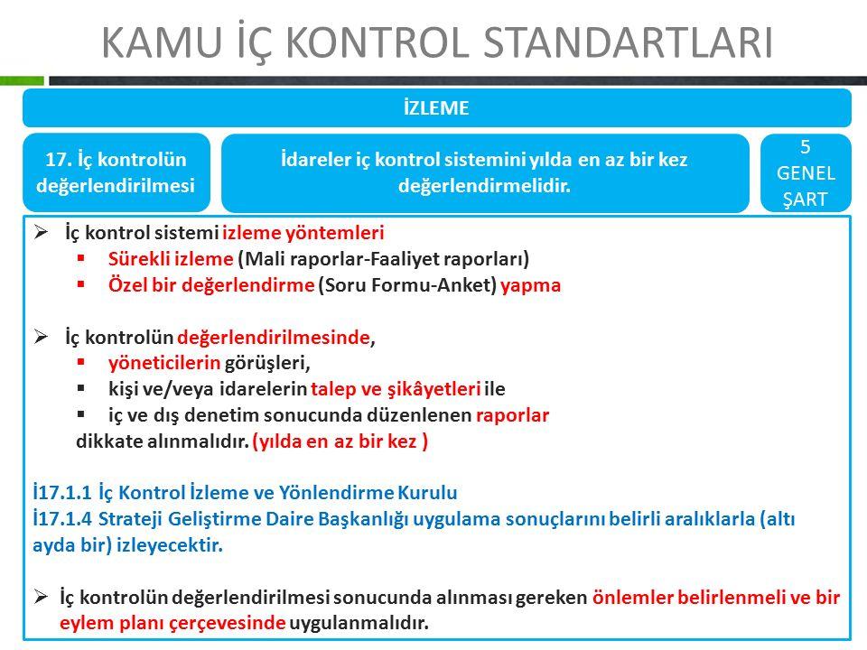 KAMU İÇ KONTROL STANDARTLARI İZLEME 17. İç kontrolün değerlendirilmesi İdareler iç kontrol sistemini yılda en az bir kez değerlendirmelidir. 5 GENEL Ş