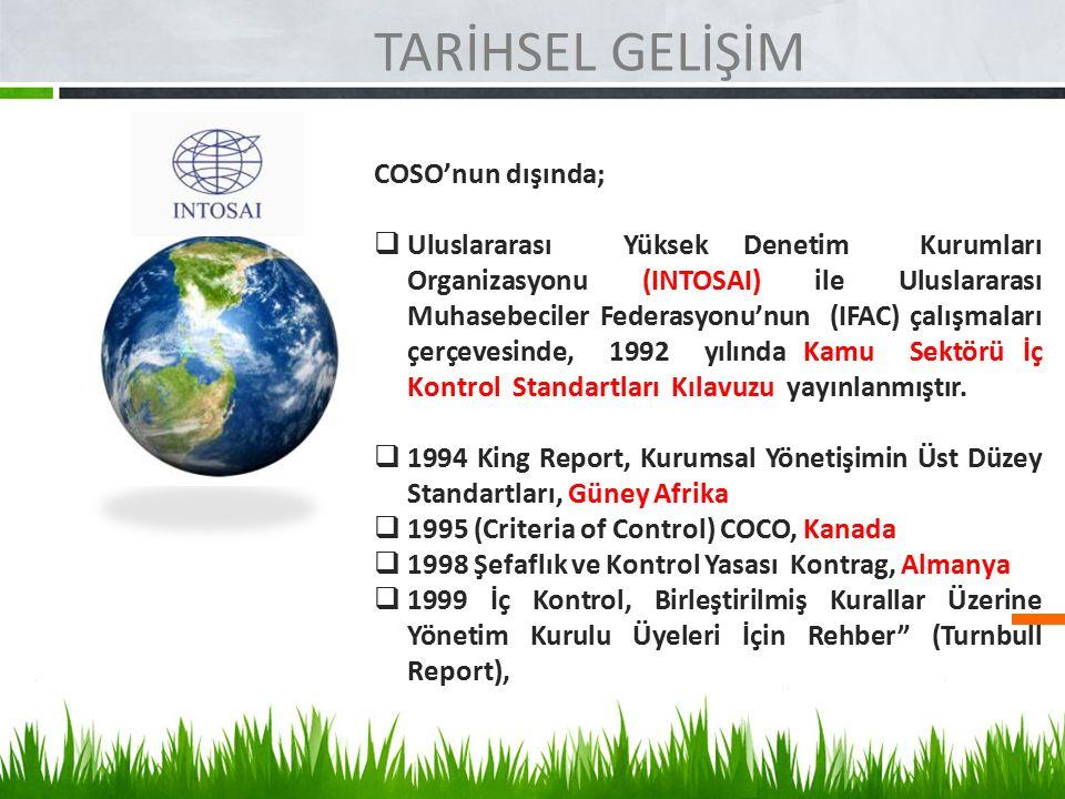 TARİHSEL GELİŞİM COSO'nun dışında;  Uluslararası Yüksek Denetim Kurumları Organizasyonu (INTOSAI) ile Uluslararası Muhasebeciler Federasyonu'nun (IFA
