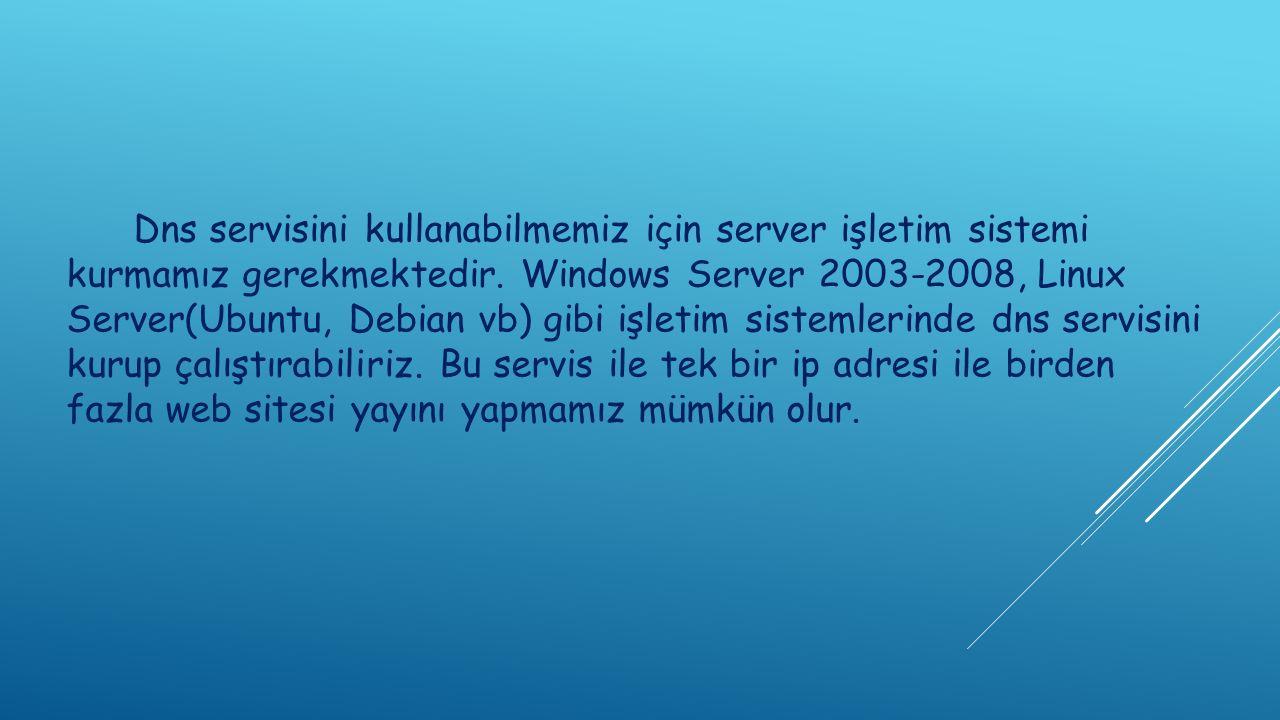 Dns servisini kullanabilmemiz için server işletim sistemi kurmamız gerekmektedir.