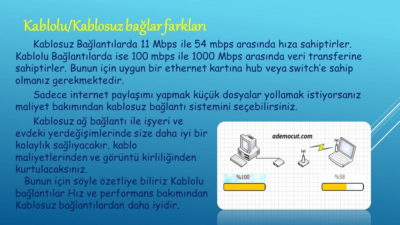 Kablosuz Bağlantılarda 11 Mbps ile 54 mbps arasında hıza sahiptirler.