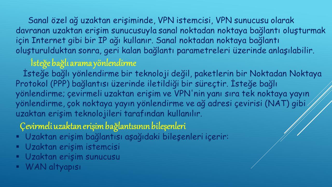 Sanal özel ağ uzaktan erişiminde, VPN istemcisi, VPN sunucusu olarak davranan uzaktan erişim sunucusuyla sanal noktadan noktaya bağlantı oluşturmak için Internet gibi bir IP ağı kullanır.