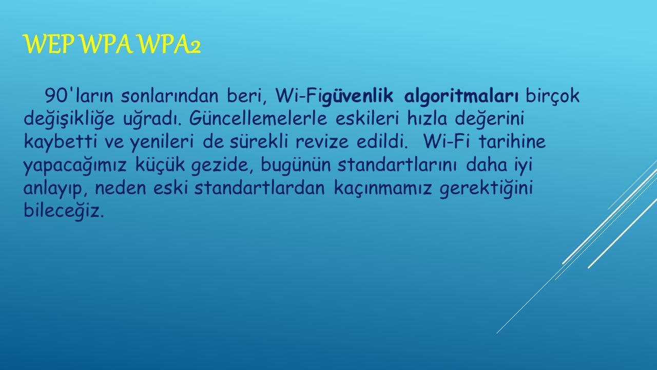 WEP WPA WPA2 90 ların sonlarından beri, Wi-Figüvenlik algoritmaları birçok değişikliğe uğradı.
