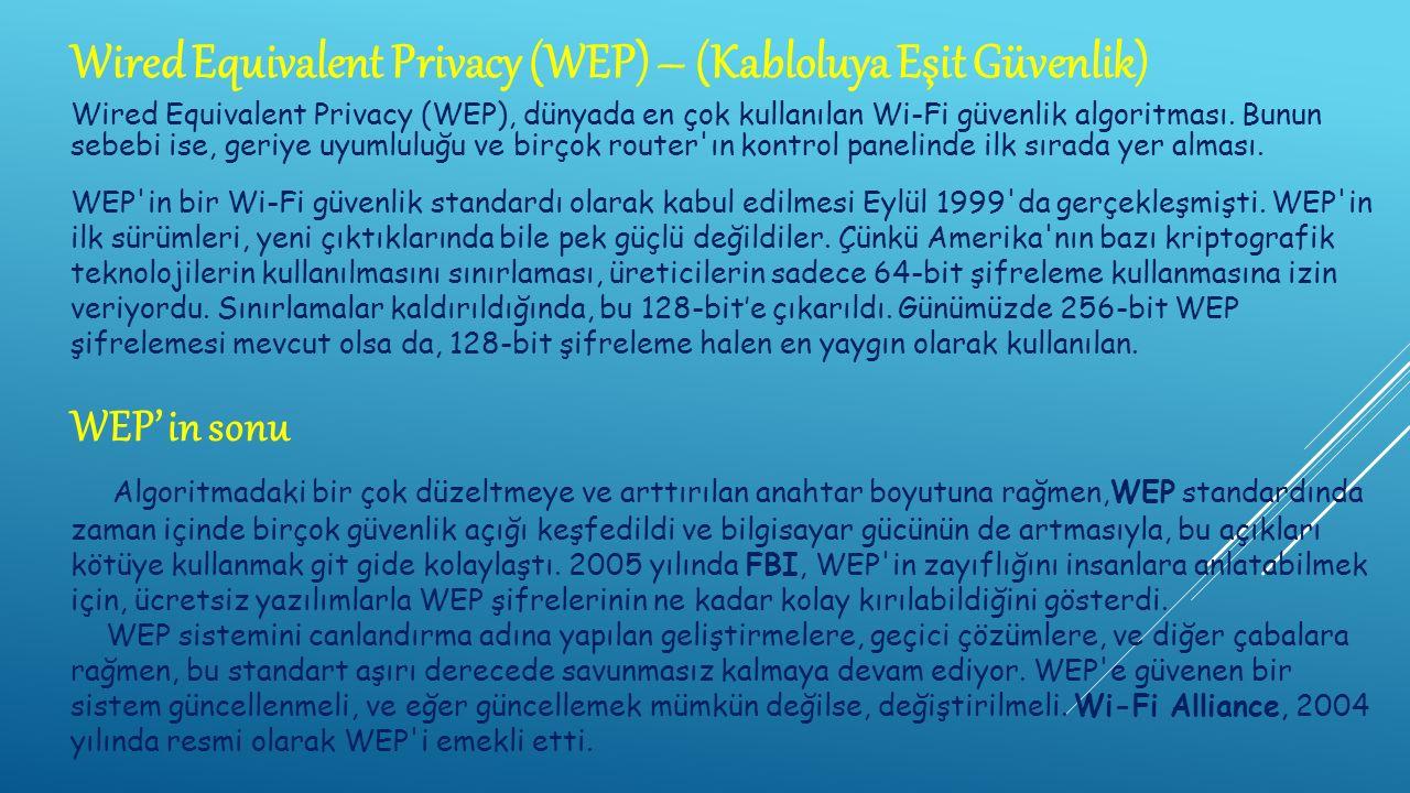 Wired Equivalent Privacy (WEP), dünyada en çok kullanılan Wi-Fi güvenlik algoritması.