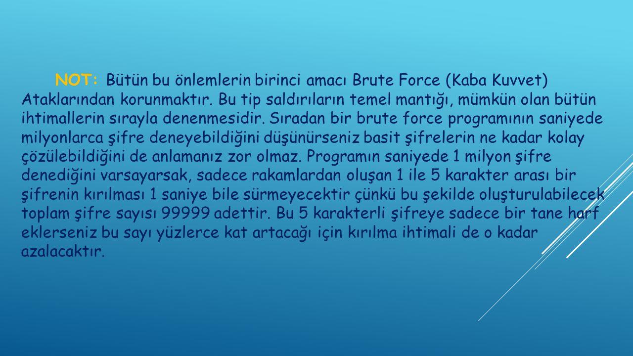 NOT: Bütün bu önlemlerin birinci amacı Brute Force (Kaba Kuvvet) Ataklarından korunmaktır.