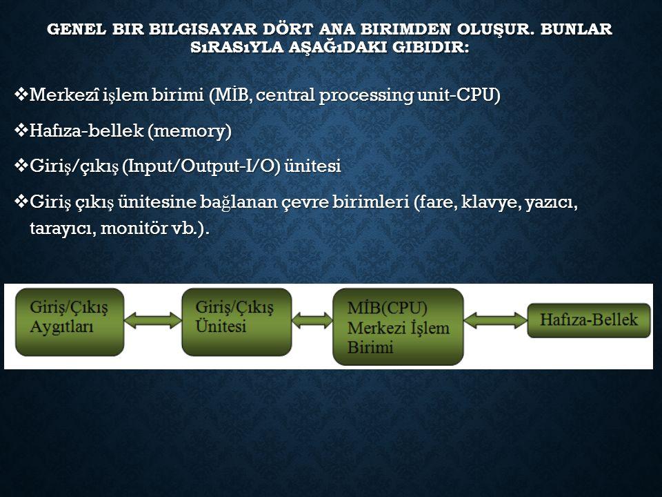 GENEL BIR BILGISAYAR DÖRT ANA BIRIMDEN OLUŞUR. BUNLAR SıRASıYLA AŞAĞıDAKI GIBIDIR:  Merkezî i ş lem birimi (M İ B, central processing unit-CPU)  Haf
