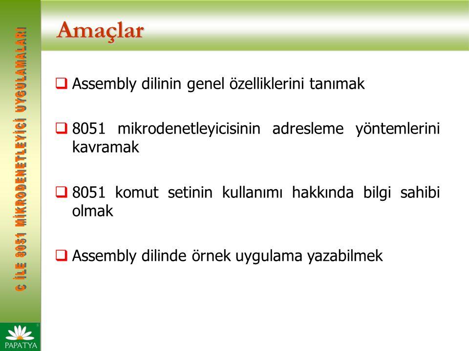 Amaçlar  Assembly dilinin genel özelliklerini tanımak  8051 mikrodenetleyicisinin adresleme yöntemlerini kavramak  8051 komut setinin kullanımı hakkında bilgi sahibi olmak  Assembly dilinde örnek uygulama yazabilmek
