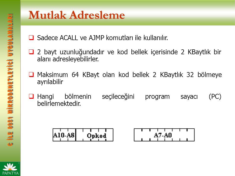 Mutlak Adresleme  Sadece ACALL ve AJMP komutları ile kullanılır.