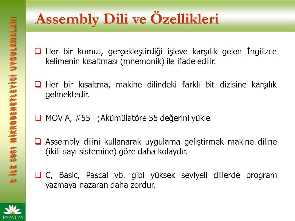 Assembly Dili ve Özellikleri Asembly Dilinin Avantajları  Donanım hakkında daha fazla detay bilmeyi gerektirir.