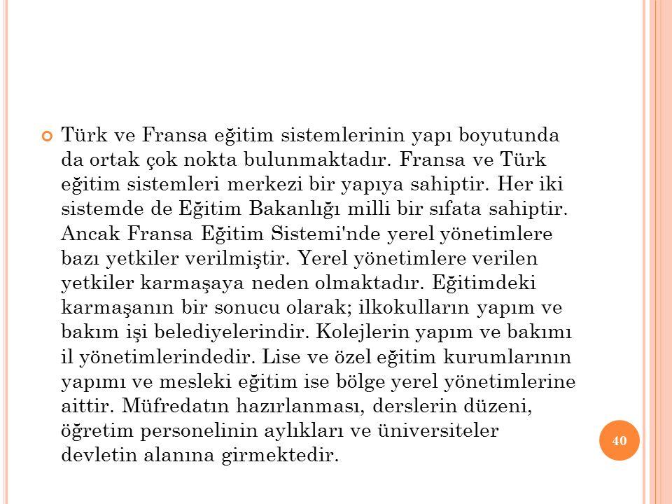 Türk ve Fransa eğitim sistemlerinin yapı boyutunda da ortak çok nokta bulunmaktadır. Fransa ve Türk eğitim sistemleri merkezi bir yapıya sahiptir. Her