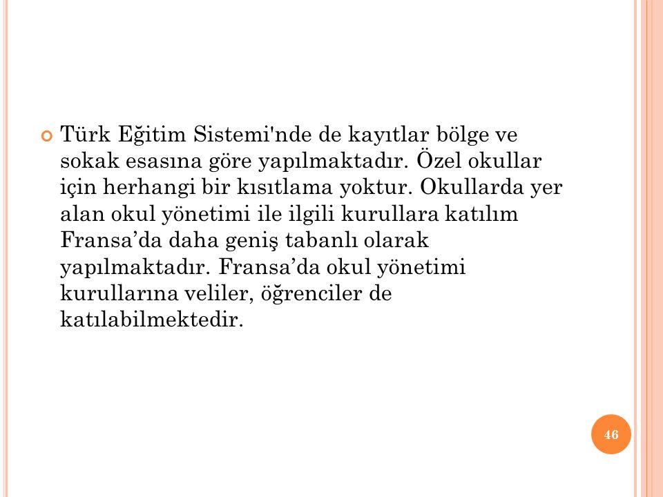 Türk Eğitim Sistemi'nde de kayıtlar bölge ve sokak esasına göre yapılmaktadır. Özel okullar için herhangi bir kısıtlama yoktur. Okullarda yer alan oku