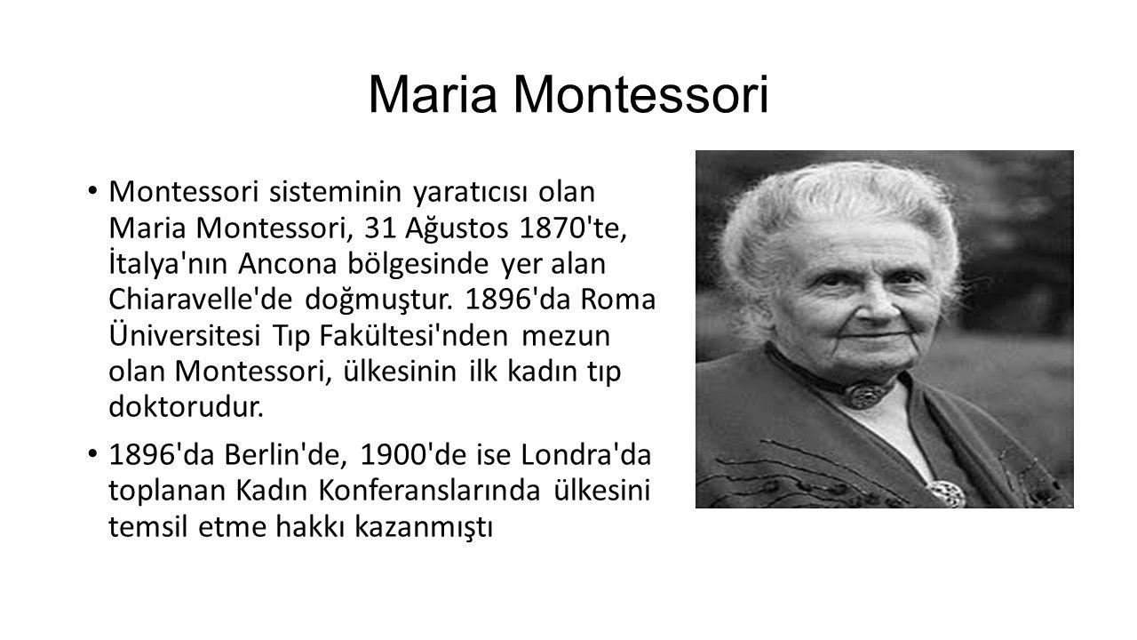 Maria Montessori A.B.D. de Montessori adı ilk kez kamu alanında anılmaya başlanmıştır.