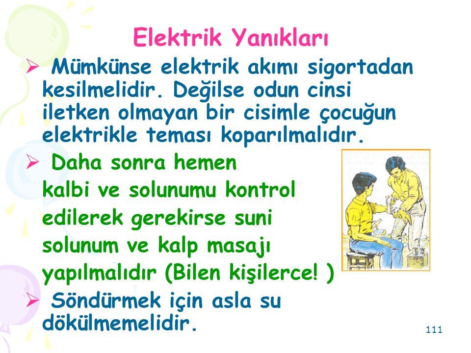 111 Elektrik Yanıkları  Mümkünse elektrik akımı sigortadan kesilmelidir.