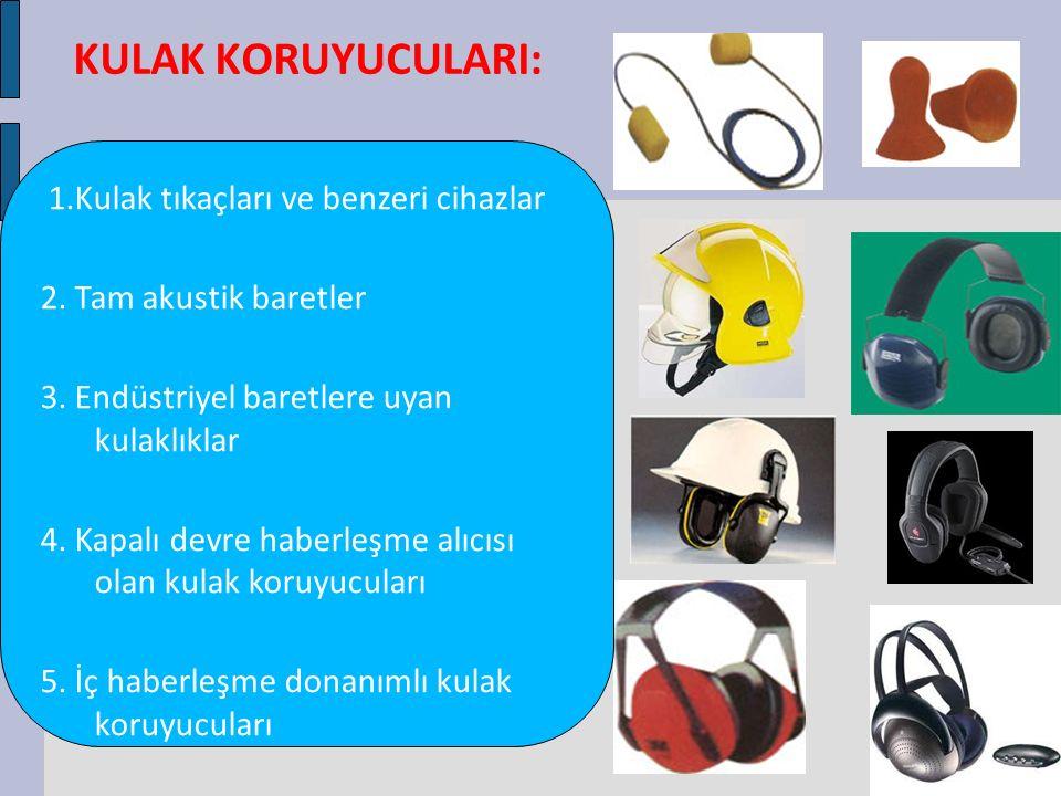 KULAK KORUYUCULARI: 1.Kulak tıkaçları ve benzeri cihazlar 2. Tam akustik baretler 3. Endüstriyel baretlere uyan kulaklıklar 4. Kapalı devre haberleşme