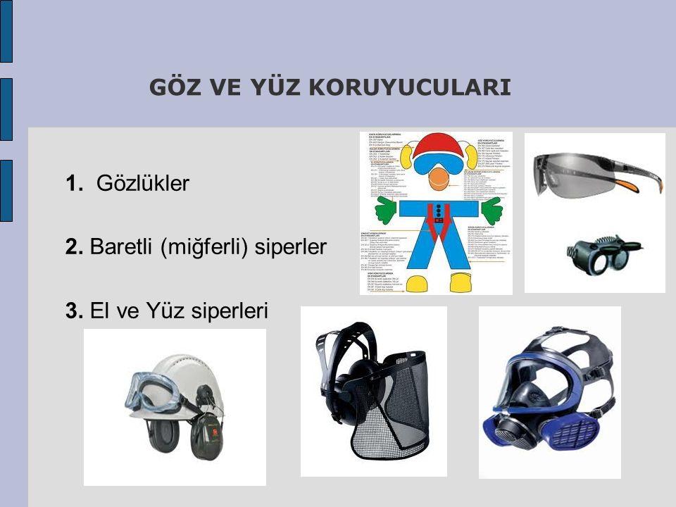 GÖZ VE YÜZ KORUYUCULARI 1. Gözlükler 2. Baretli (miğferli) siperler 3. El ve Yüz siperleri