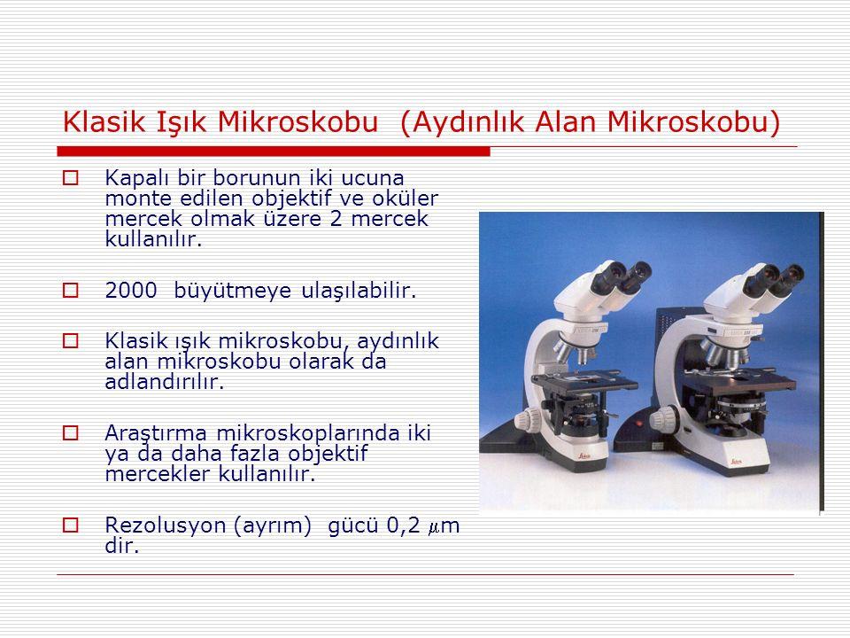 Klasik Işık Mikroskobu (Aydınlık Alan Mikroskobu)  Kapalı bir borunun iki ucuna monte edilen objektif ve oküler mercek olmak üzere 2 mercek kullanılır.