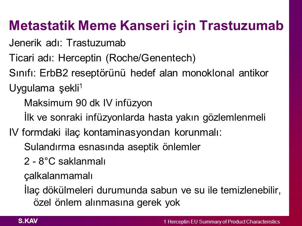S.KAV Metastatik Meme Kanseri için Trastuzumab Jenerik adı: Trastuzumab Ticari adı: Herceptin (Roche/Genentech) Sınıfı: ErbB2 reseptörünü hedef alan m