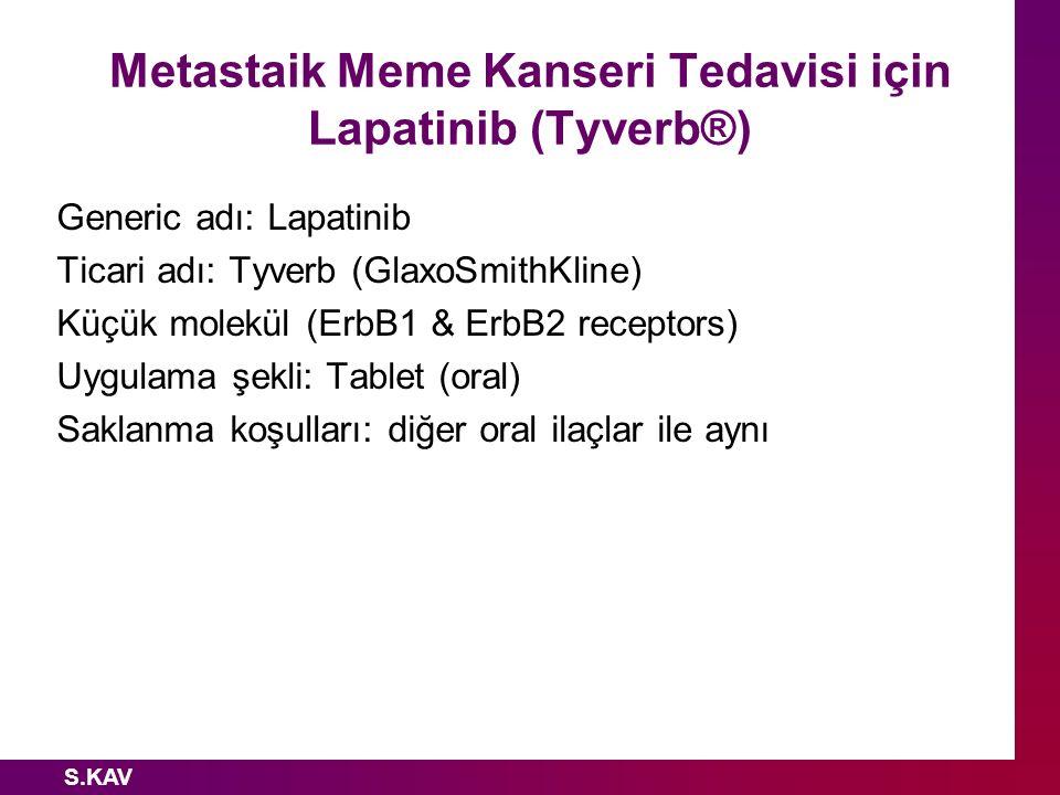 S.KAV Metastaik Meme Kanseri Tedavisi için Lapatinib (Tyverb®) Generic adı: Lapatinib Ticari adı: Tyverb (GlaxoSmithKline) Küçük molekül (ErbB1 & ErbB