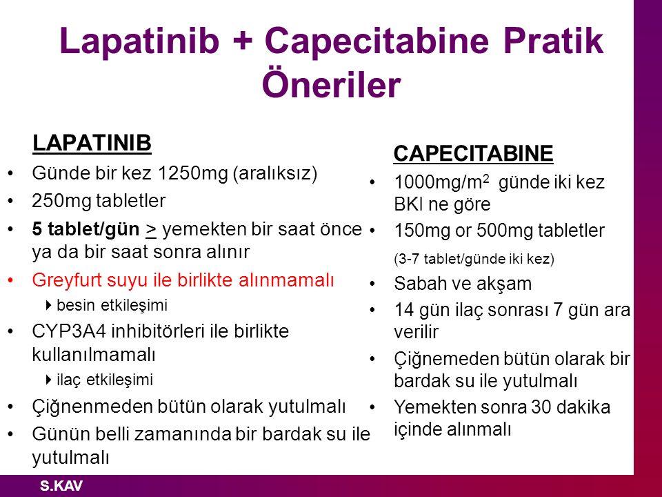 S.KAV Lapatinib + Capecitabine Pratik Öneriler LAPATINIB Günde bir kez 1250mg (aralıksız) 250mg tabletler 5 tablet/gün > yemekten bir saat önce ya da