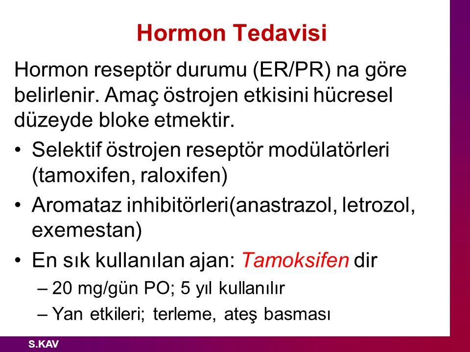 Hormon Tedavisi Hormon reseptör durumu (ER/PR) na göre belirlenir. Amaç östrojen etkisini hücresel düzeyde bloke etmektir. Selektif östrojen reseptör