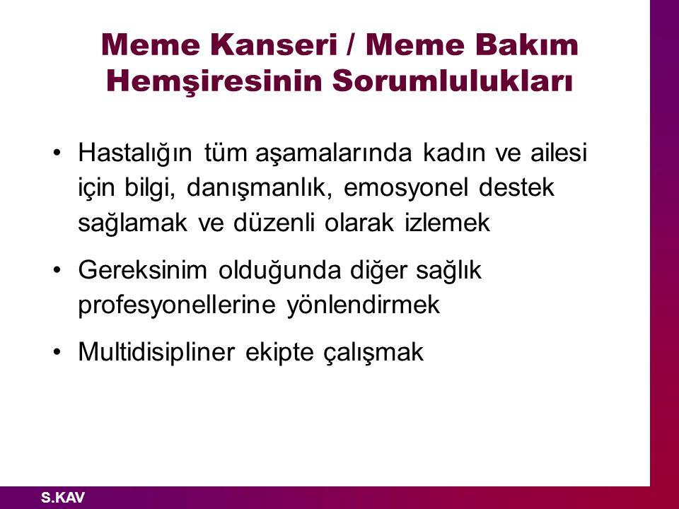 S.KAV Meme Kanseri / Meme Bakım Hemşiresinin Sorumlulukları Hastalığın tüm aşamalarında kadın ve ailesi için bilgi, danışmanlık, emosyonel destek sağl