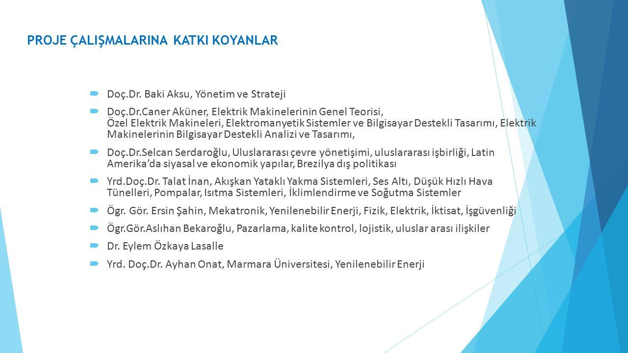  Doç.Dr. Baki Aksu, Yönetim ve Strateji  Doç.Dr.Caner Aküner, Elektrik Makinelerinin Genel Teorisi, Özel Elektrik Makineleri, Elektromanyetik Sistem
