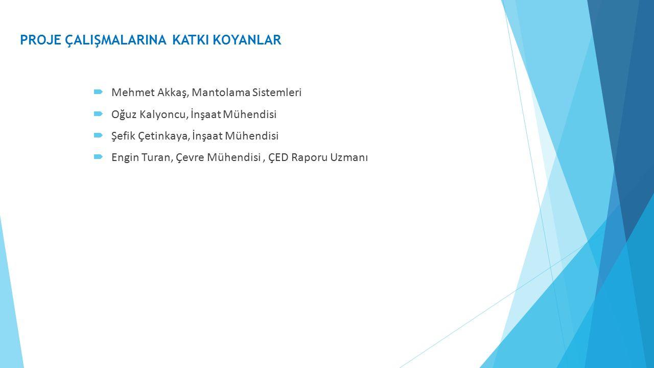  Mehmet Akkaş, Mantolama Sistemleri  Oğuz Kalyoncu, İnşaat Mühendisi  Şefik Çetinkaya, İnşaat Mühendisi  Engin Turan, Çevre Mühendisi, ÇED Raporu Uzmanı PROJE ÇALIŞMALARINA KATKI KOYANLAR