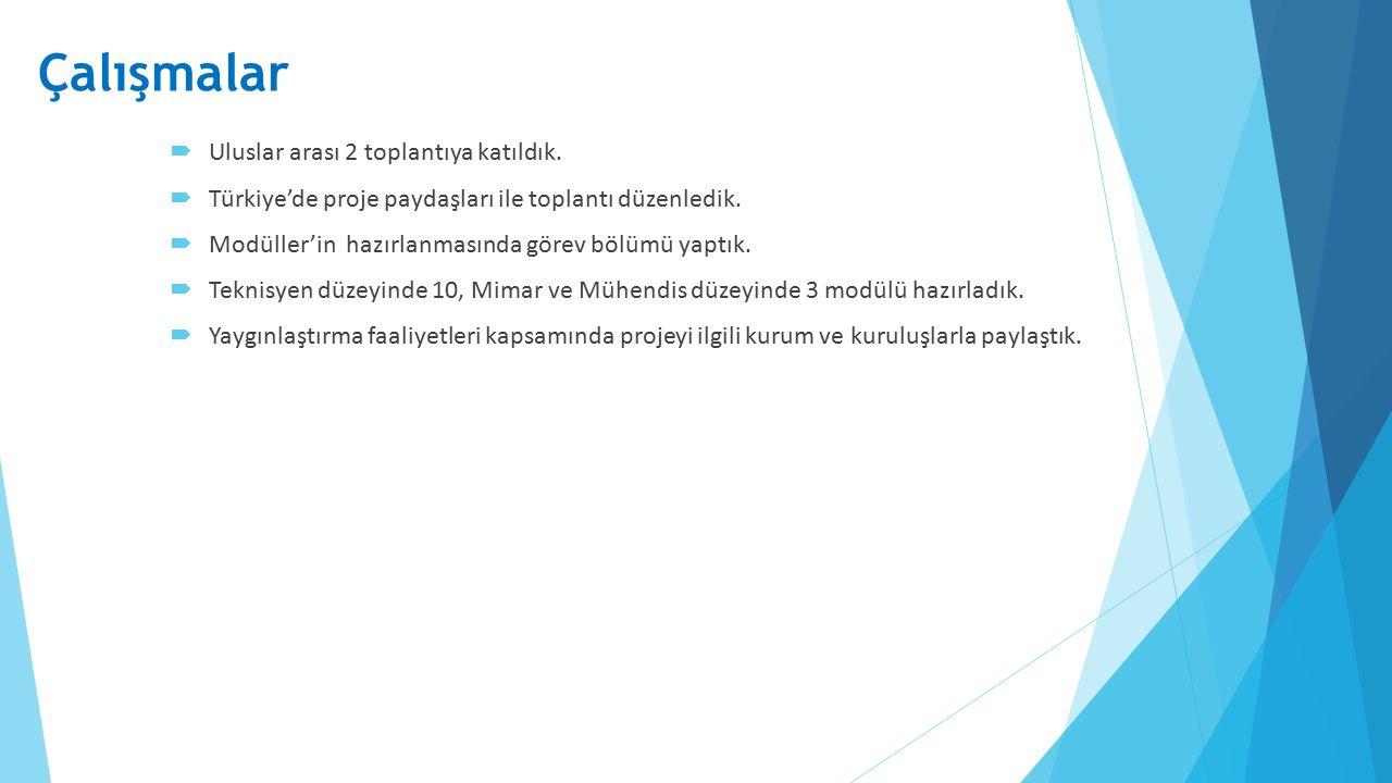  Uluslar arası 2 toplantıya katıldık.  Türkiye'de proje paydaşları ile toplantı düzenledik.  Modüller'in hazırlanmasında görev bölümü yaptık.  Tek