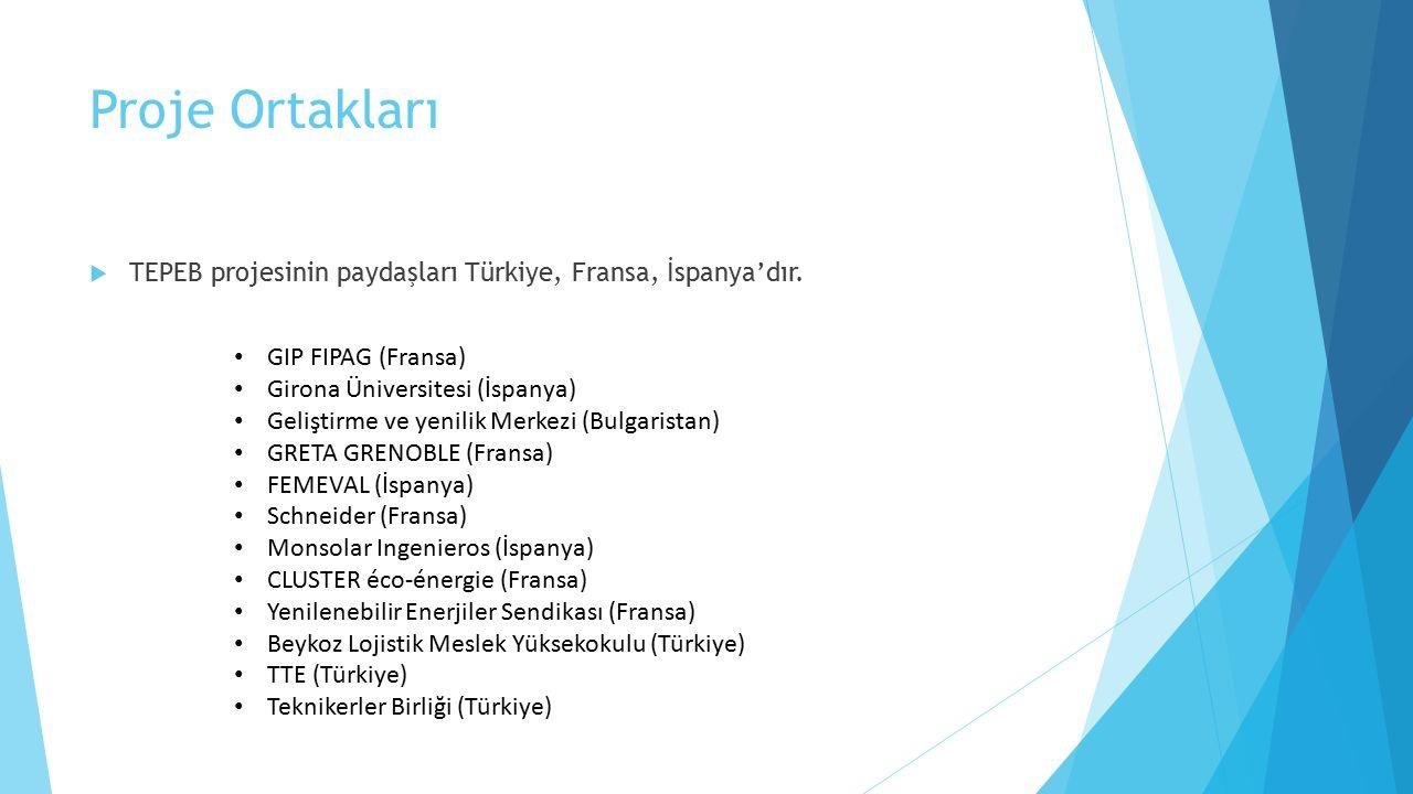 Proje Ortakları  TEPEB projesinin paydaşları Türkiye, Fransa, İspanya'dır. GIP FIPAG (Fransa) Girona Üniversitesi (İspanya) Geliştirme ve yenilik Mer