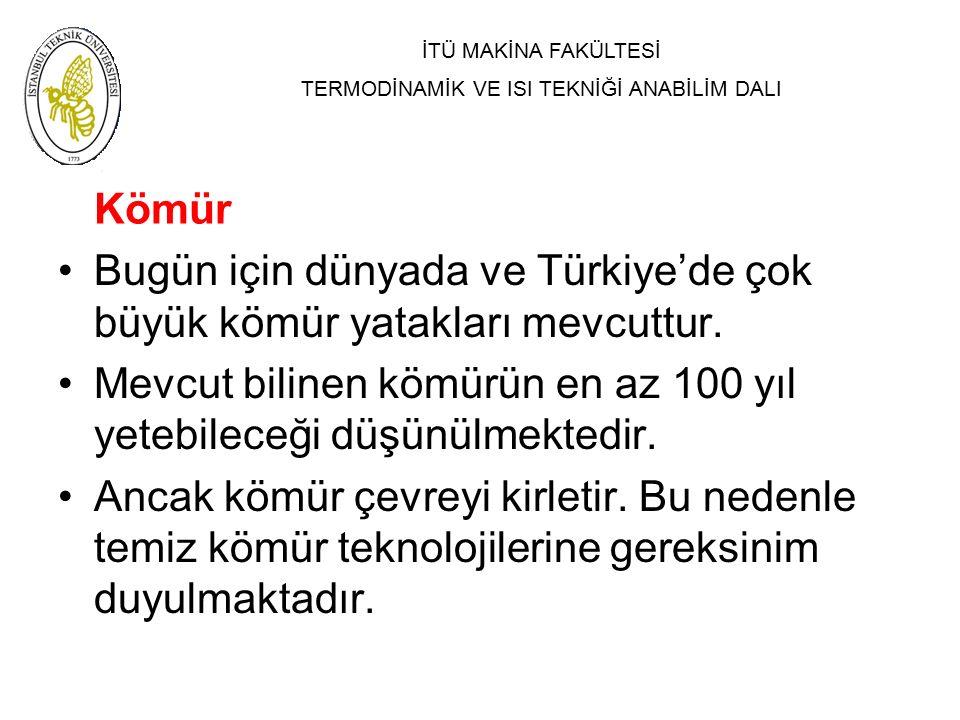 İTÜ MAKİNA FAKÜLTESİ TERMODİNAMİK VE ISI TEKNİĞİ ANABİLİM DALI Kömür Bugün için dünyada ve Türkiye'de çok büyük kömür yatakları mevcuttur. Mevcut bili