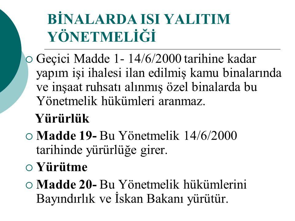 BİNALARDA ISI YALITIM YÖNETMELİĞİ  Geçici Madde 1- 14/6/2000 tarihine kadar yapım işi ihalesi ilan edilmiş kamu binalarında ve inşaat ruhsatı alınmış