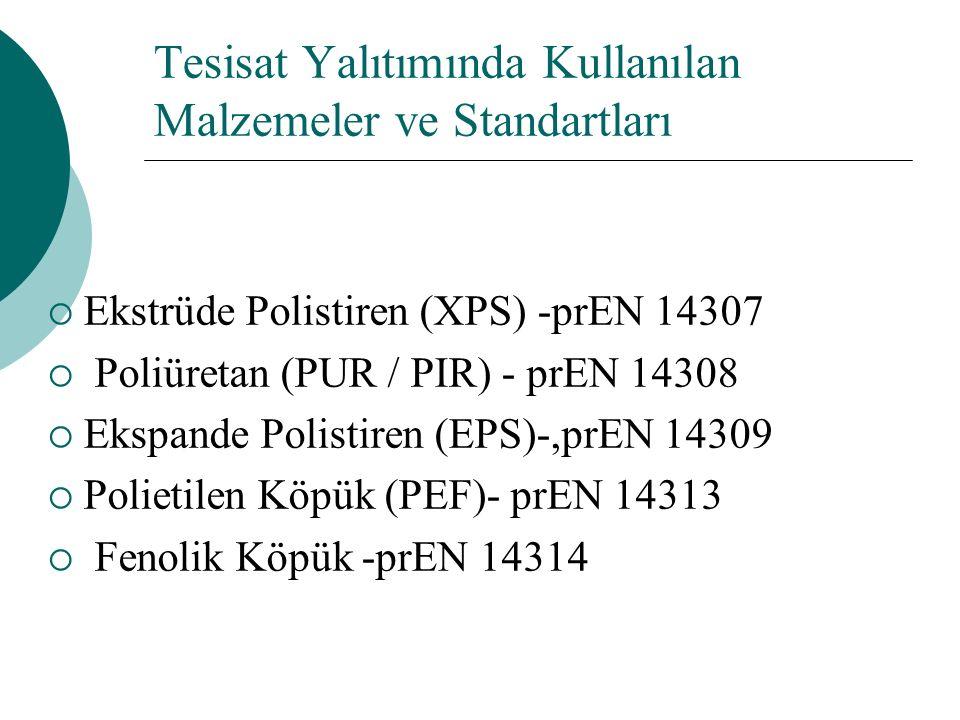 Tesisat Yalıtımında Kullanılan Malzemeler ve Standartları  Ekstrüde Polistiren (XPS) -prEN 14307  Poliüretan (PUR / PIR) - prEN 14308  Ekspande Polistiren (EPS)-,prEN 14309  Polietilen Köpük (PEF)- prEN 14313  Fenolik Köpük -prEN 14314