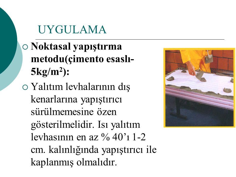 UYGULAMA  Noktasal yapıştırma metodu(çimento esaslı- 5kg/m 2 ):  Yalıtım levhalarının dış kenarlarına yapıştırıcı sürülmemesine özen gösterilmelidir