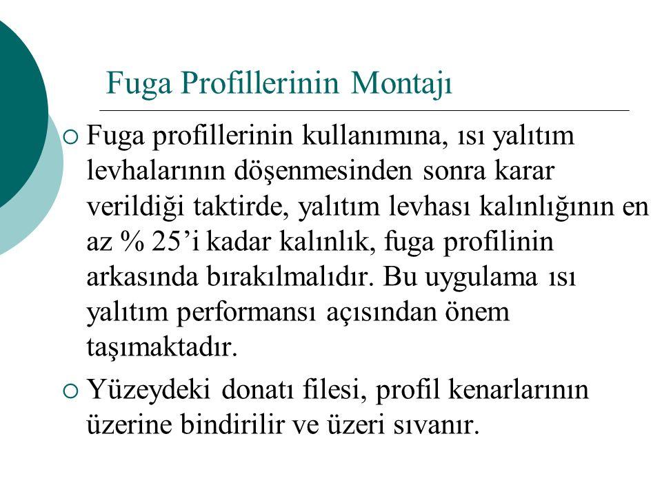 Fuga Profillerinin Montajı  Fuga profillerinin kullanımına, ısı yalıtım levhalarının döşenmesinden sonra karar verildiği taktirde, yalıtım levhası kalınlığının en az % 25'i kadar kalınlık, fuga profilinin arkasında bırakılmalıdır.
