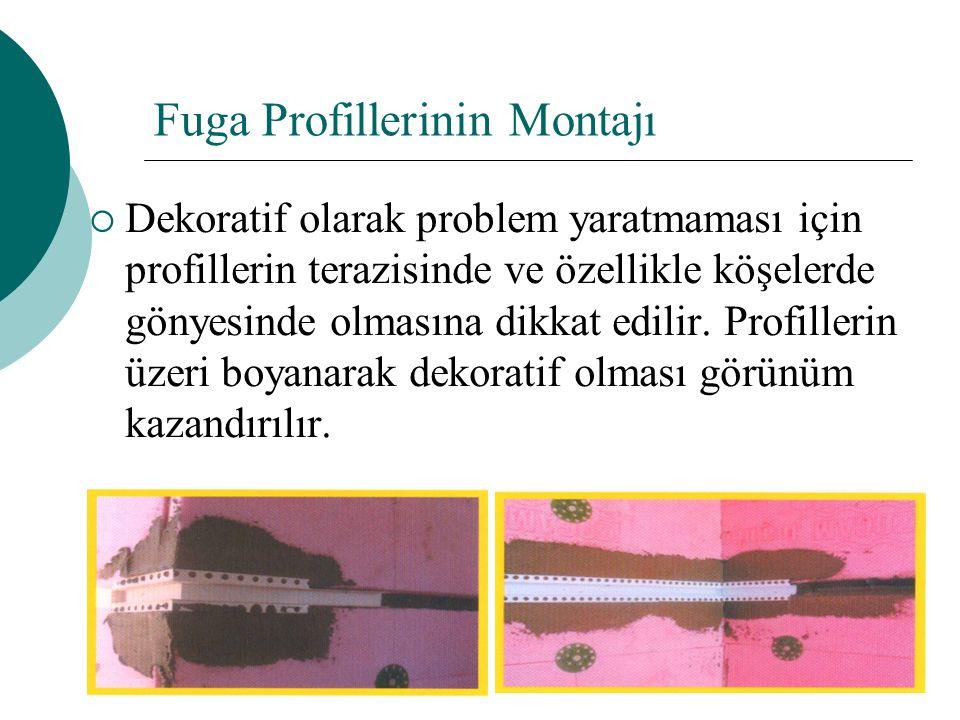 Fuga Profillerinin Montajı  Dekoratif olarak problem yaratmaması için profillerin terazisinde ve özellikle köşelerde gönyesinde olmasına dikkat edilir.