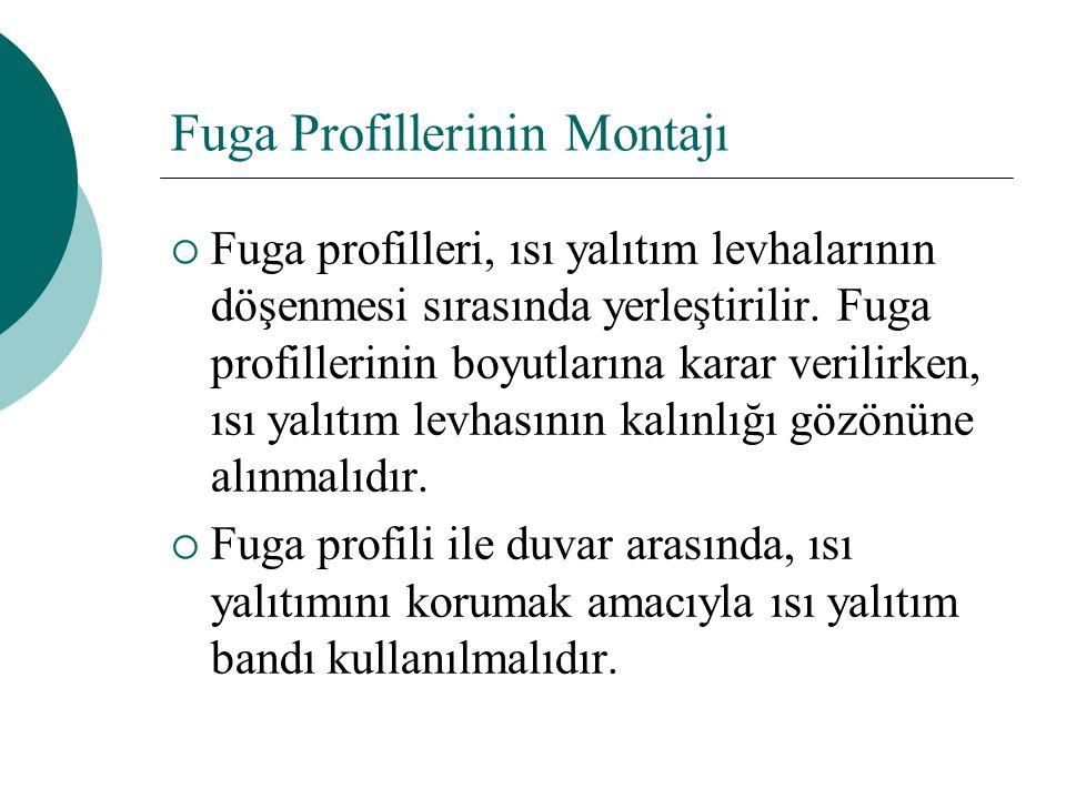 Fuga Profillerinin Montajı  Fuga profilleri, ısı yalıtım levhalarının döşenmesi sırasında yerleştirilir. Fuga profillerinin boyutlarına karar verilir