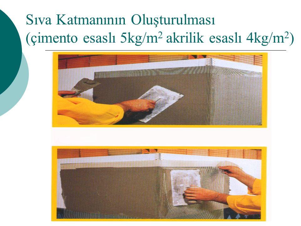 Sıva Katmanının Oluşturulması (çimento esaslı 5kg/m 2 akrilik esaslı 4kg/m 2 )