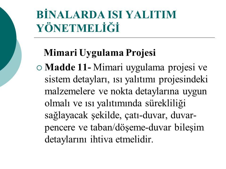 BİNALARDA ISI YALITIM YÖNETMELİĞİ Mimari Uygulama Projesi  Madde 11- Mimari uygulama projesi ve sistem detayları, ısı yalıtımı projesindeki malzemele
