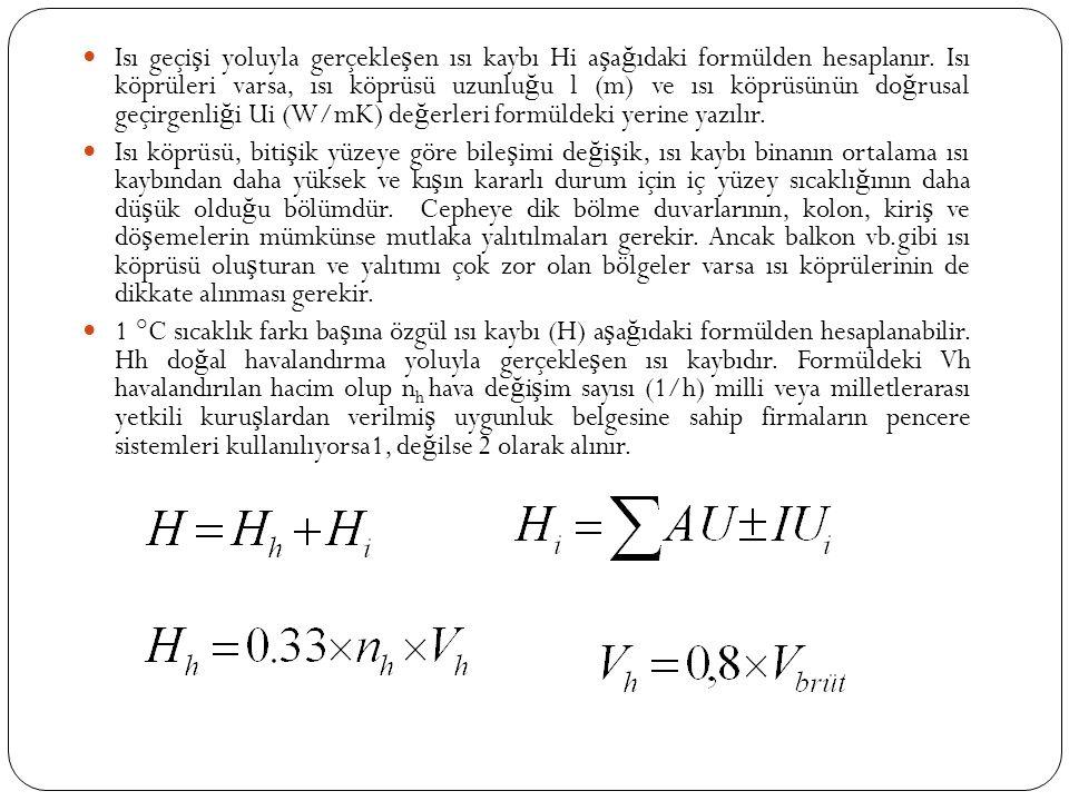 Isı geçi ş i yoluyla gerçekle ş en ısı kaybı Hi a ş a ğ ıdaki formülden hesaplanır.