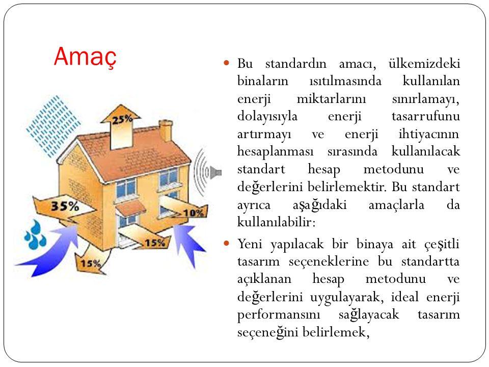 Amaç Bu standardın amacı, ülkemizdeki binaların ısıtılmasında kullanılan enerji miktarlarını sınırlamayı, dolayısıyla enerji tasarrufunu artırmayı ve enerji ihtiyacının hesaplanması sırasında kullanılacak standart hesap metodunu ve de ğ erlerini belirlemektir.