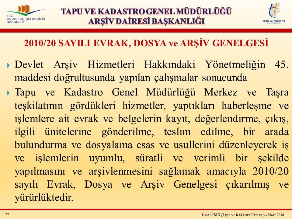 31 İsmail IŞIK (Tapu ve Kadastro Uzmanı) - Mart 2016  Devlet Arşiv Hizmetleri Hakkındaki Yönetmeliğin 45.