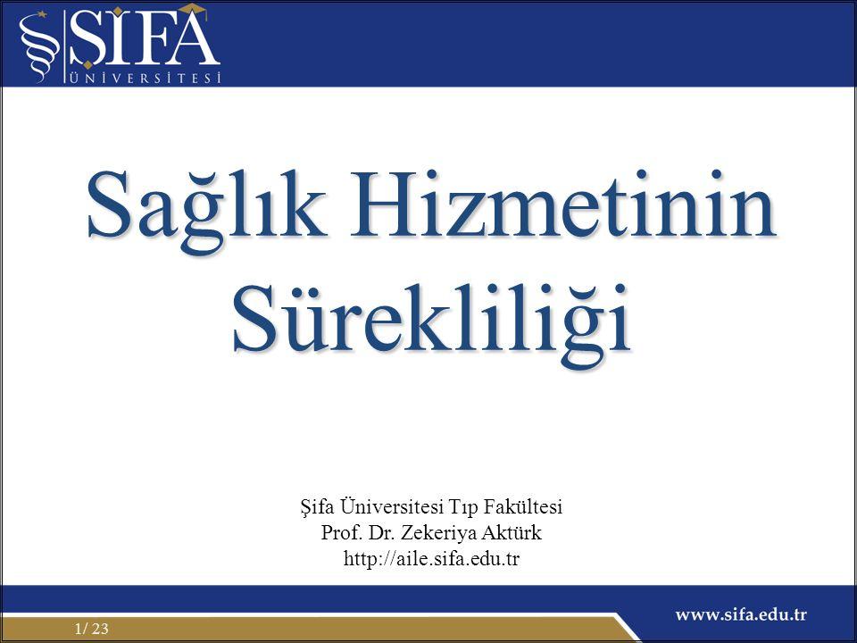 / 231 Sağlık Hizmetinin Sürekliliği Şifa Üniversitesi Tıp Fakültesi Prof. Dr. Zekeriya Aktürk http://aile.sifa.edu.tr