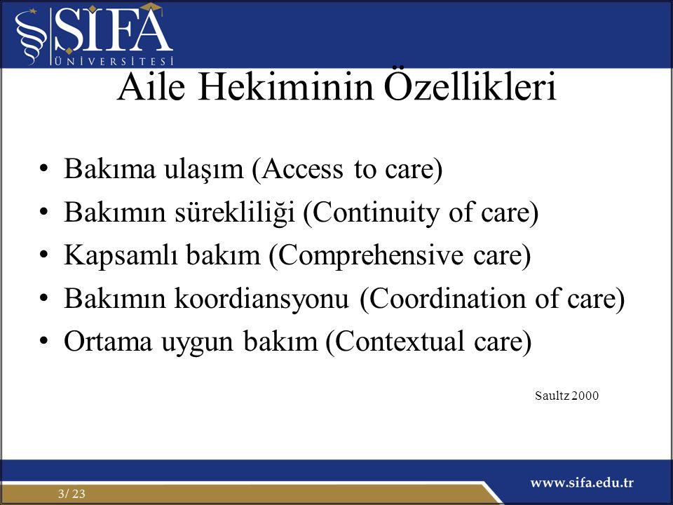 Aile Hekiminin Özellikleri Bakıma ulaşım (Access to care) Bakımın sürekliliği (Continuity of care) Kapsamlı bakım (Comprehensive care) Bakımın koordiansyonu (Coordination of care) Ortama uygun bakım (Contextual care) / 233 Saultz 2000