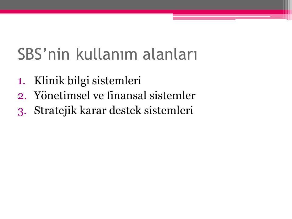 SBS'nin kullanım alanları 1.Klinik bilgi sistemleri 2.Yönetimsel ve finansal sistemler 3.Stratejik karar destek sistemleri