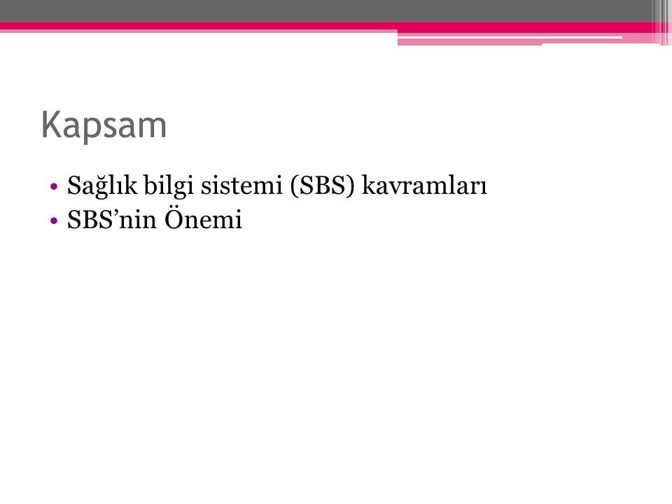 Kapsam Sağlık bilgi sistemi (SBS) kavramları SBS'nin Önemi
