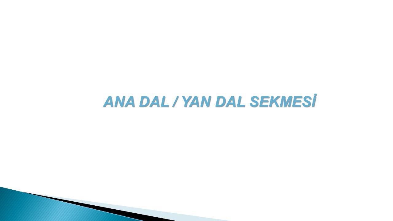 ANA DAL / YAN DAL SEKMESİ