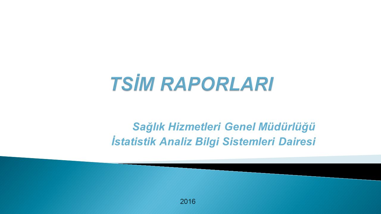Sağlık Hizmetleri Genel Müdürlüğü İstatistik Analiz Bilgi Sistemleri Dairesi 2016