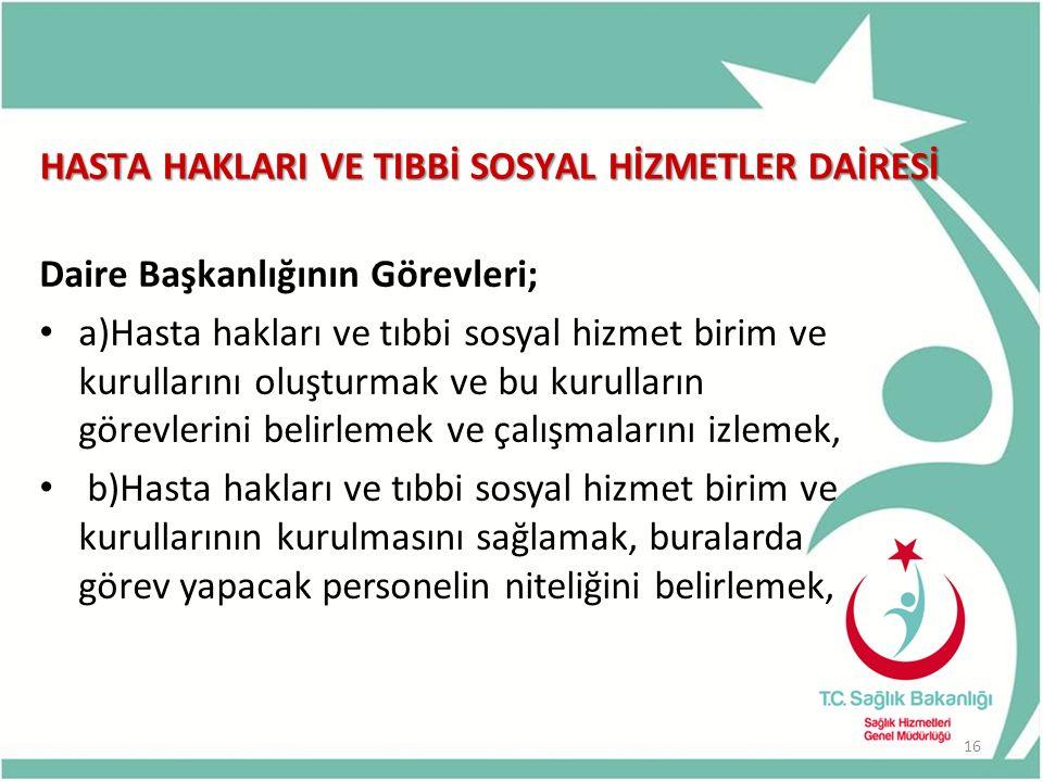 HASTA HAKLARI VE TIBBİ SOSYAL HİZMETLER DAİRESİ Daire Başkanlığının Görevleri; a)Hasta hakları ve tıbbi sosyal hizmet birim ve kurullarını oluşturmak